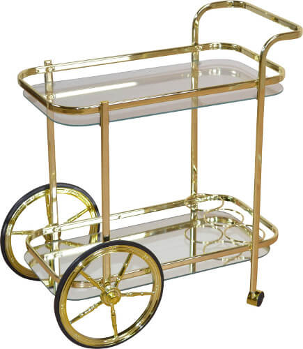 Goldener Servierwagen mit Flaschenablage