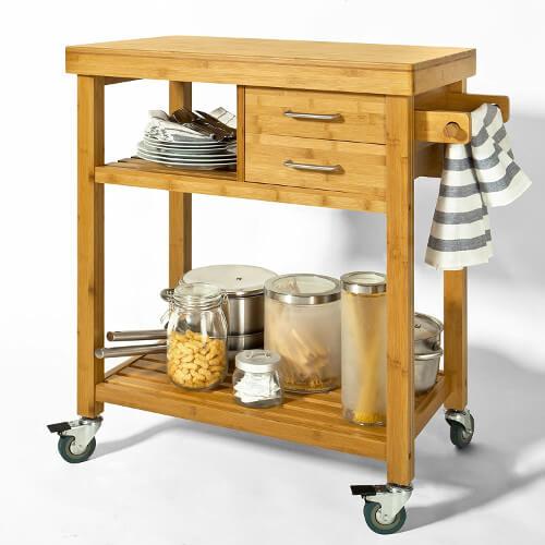 Küchenwagen aus Holz mit Schubladen